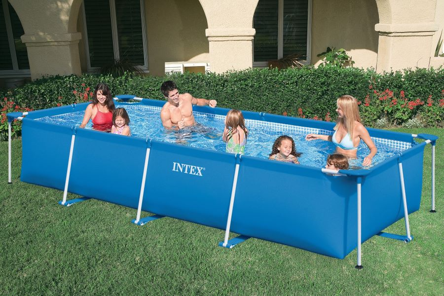 Rectangular family frame pools intex for your for Intex pool 150 cm tief